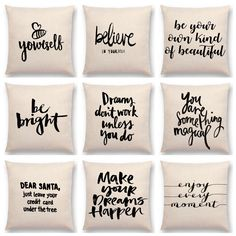 Hot Sale Black And White Style Decorative Letter Brave Confidence Hope Forceful Warm Words Calligraphy Cushion Sofa Throw Pillow Sofa Throw Pillows, Cushions On Sofa, Couch Cushion Covers, Pillow Covers, Letter Cushion, Diy Letters, Black And White Style, Vinyl Crafts, Creations