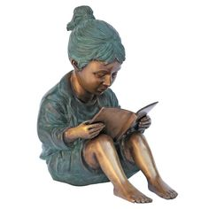 Story Book Girl Bronze Home Decor Statues