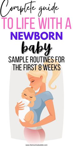 Sample routines for your baby in the first 8 weeks. Newborn babies come with their own clock but these baby schedules will show you an idea of what your baby's day may look like from feeding to sleeping plus tips for getting through those days with a newborn. Newborn Baby Tips, Newborn Babies, Baby Samples, Baby Sleep Schedule, Baby Coming, New Mums, Baby Hacks, 8 Weeks, Having A Baby