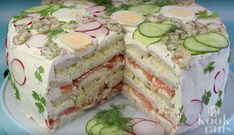 Festliche Sandwichtorte Festive sandwiches, a great recipe from the cheese category. Party Finger Foods, Party Snacks, Sandwich Torte, Great Recipes, Favorite Recipes, Hazelnut Cake, Good Food, Yummy Food, Party Buffet