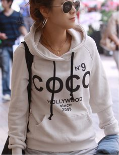 COCO No.9 Print Drawstring Hoodie Sweatshirt - 2 colors