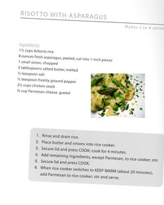 Wolfgang Puck Rice Cooker Risotto with Asparagus