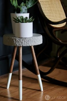 Raw Edge Concrete Plant Stand