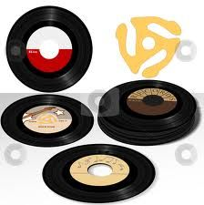 45 records, you bought these with the latest hit music on, usually one tune on each side.