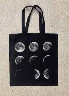 Black Cotton Canvas Tote Bag  Moon Phases por CrawlspaceStudios
