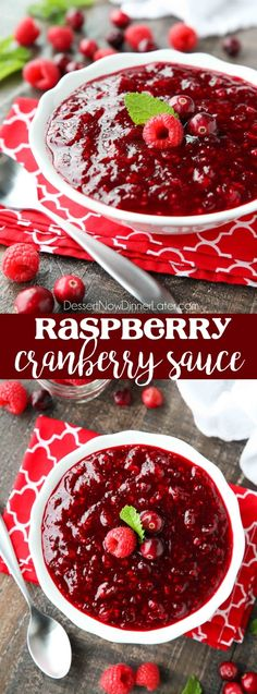 This easy raspberry cranberry sauce is sweet, tangy, and quick (only 4 ingredients 15 minutes) to make! Uses fresh or frozen fruit, and is easy to make ahead of time. A classic for Thanksgiving or Christmas dinner. christmas food ideas for dinner Best Cranberry Sauce, Cranberry Relish, Cranberry Recipes, Thanksgiving Recipes, Holiday Recipes, Christmas Recipes, Thanksgiving Cranberry Sauce, Thanksgiving Fruit, Party Recipes