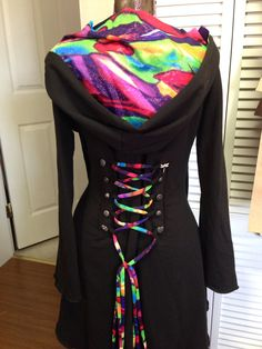 Rainbow Corset lace bamboo hoodie jacket by FayeTalityCouture, $160.00