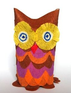 toilet paper roll and crepe paper owl; found at Qlturka
