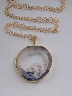 Geode Necklace on a Gold Filled Chain: geode by MalieCreations