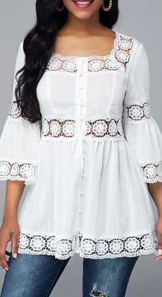 Women Blouse Designs, Women Blouses And Tops, Formal Blouses For Women Page 3 Source by Trendy Tops For Women, Blouses For Women, Cute White Tops, Formal Blouses, White Blouses, Collar Blouse, Mode Outfits, Dress Outfits, Dress Shoes