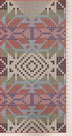 Worki mochilla i wayuu Tapestry Crochet Patterns, Fair Isle Knitting Patterns, Bead Loom Patterns, Knitting Charts, Knitting Stitches, Knitting Designs, Cross Stitch Patterns, Motif Fair Isle, Fair Isle Pattern