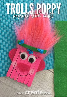 DIY Ideas for Kids To Make This Summer - Trolls Poppy Popsicle Stick Craft - Fun Crafts and Cool Projects for Boys and Girls To Make at Home - Easy and Cheap Do It Yourself Project Ideas With Paint, Glue, Paper, Glitter, Chalk and Things You Can Find Arou Arts And Crafts For Teens, Art And Craft Videos, Creative Arts And Crafts, Arts And Crafts House, Summer Crafts For Kids, Crafts For Kids To Make, Arts And Crafts Projects, Art For Kids, Summer Ideas