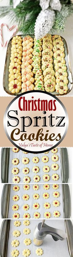 What holiday dessert plate would be complete without these incredible Christmas Spritz Cookies? These may be the most popular, classic Christmas cookies you'll ever make. They are simply butter cookies, shaped with a cookie dough press. These cookies just Dessert Oreo, Cookie Desserts, Holiday Desserts, Holiday Baking, Holiday Recipes, Cookie Recipes, Christmas Recipes, Cooking Cookies, Dessert Food