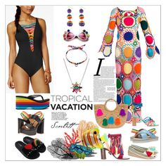 """Welcome to Paradise: Tropical Vacation"" by yours-styling-best-friend ❤ liked on Polyvore featuring Nannacay, Sophia Webster, Impo, Shellys, Anya Hindmarch, Volatile, BLEU Rod Beattie, My Beachy Side, Via Pinky and Love Moschino"