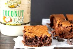 Dense and fudgy Coconut Oil Brownies made without butter. Super rich, moist, and delicious. Gluten Free