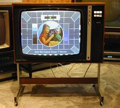 "Philips Colour Television Displaying ""Test Card F"". After we upgraded I took our old TV for my bedroom. In those days we only had 3 channels! 1970s Childhood, My Childhood Memories, Gi Joe, Color Television, Vintage Television, Deco Retro, Tv Sets, Vintage Tv, Vintage Tools"
