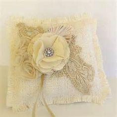 Burlap and lace wedding pillow   Wedding Ideas