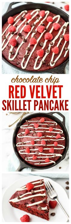 Oven Baked Skillet Red Velvet Pancakes with Chocolate Chips and Cream Cheese Glaze. No more flipping or standing at the stove. Thick, fluffy, and a must for red velvet cake lovers! www.wellplated.com