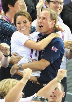 Wills and Kate celebrate a big win for the UK during the Olympics. via StyleList