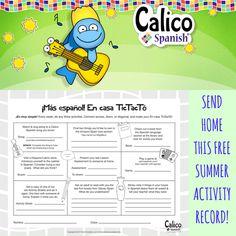 Children learning Spanish in preschool, kindergarten, & elementary improve their language skills through summer break with this free PDF activity record.