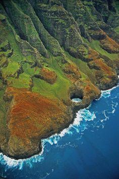 Na Pali coast aerial view, Kauai, Hawaii. #kauai #hawaii