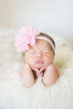Newborn headband Pink headband Peach Baby headband by AubreyGianna