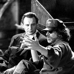 Liam Neeson and Steven Spielberg on the set of 'Schindlers List' (1993)