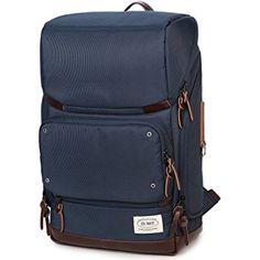 ZUMIT Unisex 14 Inch Laptop Business Backpack College School Bag Casual Daypacks Travel Rucksack Simple Design Lightweight Shoulder Bag Blue #804