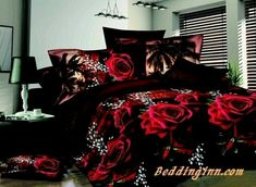 Red Rose Black Skin Floral Print Bedding Set Queen Size Bedding Sets(Comforter Not Included) Red Bedding Sets, Cheap Bedding Sets, Queen Bedding Sets, Duvet Bedding, Linen Bedding, Bed Linens, Floral Bedding, Bed Sets, Bed Linen Sets