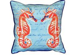 Coral Sea Horses Indoor/Outdoor Throw Pillow