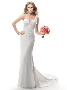One Shoulder Backless Chiffon Appliques Lace Sexy Trumpet/Mermaid Wedding Dress #00020385