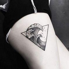 Black Ink Wave Tattoo by Sou