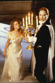 "Erik (Charles Dance) and Christine (Teri Polo) in ""The Phantom of the Opera"" (1990 miniseries)"