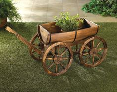 Rustic Western Whiskey Wine Apple Half Barrel Wagon Garden Patio Decor Planter