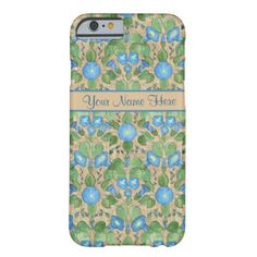 A light-weight and slim Case to personalize for your iPhone 6 smartphone, with a nostalgic pattern of Bright Blue Morning Glory Flowers on a Taupe background . Part of the Posh & Painterly 'Morning Glory' collection. Up to $47.95 - http://www.zazzle.com/nostalgic_blue_morning_glory_slim_iphone_6_case-256120080480802110?rf=238041988035411422&tc=pintw