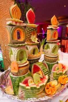 fruit carvings on a dessert buffet...