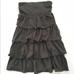 J. Crew Dress Dark gray strapless tiered ruffle dress from J. Crew in size small. Excellent condition. J. Crew Dresses Strapless