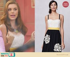AnnaBeth's strapless dress and animal patterned bib necklace on Hart of Dixie. Outfit Details: http://wornontv.net/21103 #HartofDixie #TheCW