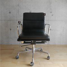 SOFAGRAND インテリアソファー家具専門店 イームズアルミナムチェアソフトパットマネージメントチェア黒ソフトレザー