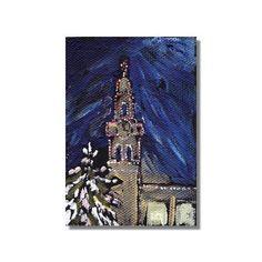 ACEO Wonders2014 KC Plaza Lights impressionism Christmas night painting Buckman