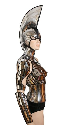 2 piece gladiator spartan mask and mohawk warrior headpiece armor sci fi futuristic steampunk cyber headdress cybergoth divamp couture on Etsy, $895.00