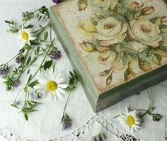 Шкатулки ручной работы. Ярмарка Мастеров - ручная работа. Купить Шкатулка деревянная  Розы акварельные  в винтажном стиле. Handmade.
