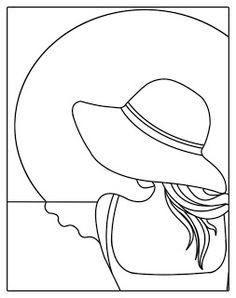 stained glass patterns for free: Women with hat stained glass patterns