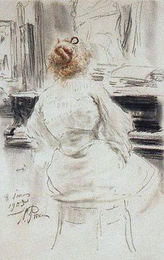 The Athenaeum - At the Piano (Ilia Efimovich Repin - )