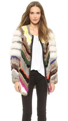 232fc3b1148d7 Elizabeth and James Tarra Multi Fur Coat Vintage Fur