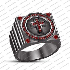 14K Black Gold PL 925 Sterling Silver Round Red Garnet Men's Cross Ring Sz 7 8 9 #br925 #CrossRing