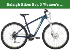 """Raleigh Bikes Eva 3 Women's Mountain Bike, 19""""/Large, Blue. Get outside for some fresh air this weekend with your new two-wheeled companion, EVA 3. From town to trail and back again, this entry-level women's mountain bike is equally at home on the dirt as it is on the pavement. Built with the beginner rider in mind, but adding in features found on more expensive bikes, the EVA 3 makes sure you have a great bike without breaking the bank. The EVA 3 offers comfort and control with a low…"""