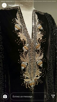 Gold and silver embroidery on black kurta embroidery inspiration