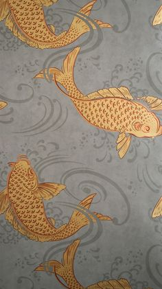 "Osborne & Little: W5796/01 I am obsessed with this wallpaper ""Koi"" fish -stunning colours - has a glamorous 1920's feel. Was going to do dark grey panelling in powder room, but now I think I need to do the fish!"
