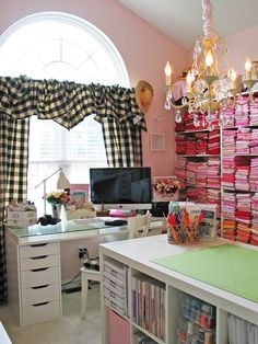 COULD PUT CURTAINS AROUND MY MIRROR, OVER DSM DESK Fabric sewing studio